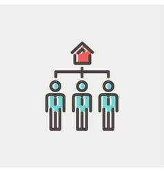 Three real estate agent in one house thin line vector