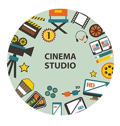 Cinema studio emblem vector