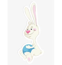 Bunny and ball sticker vector