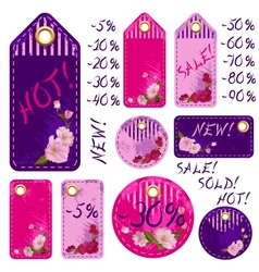 spring sale tags with beautiful sakura flowers vector image
