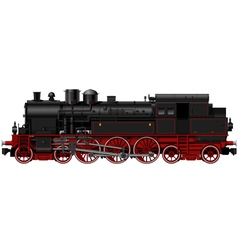 Old black red steam locomotive vector