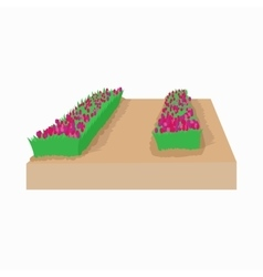 Garden bed of tulips in holland icon vector
