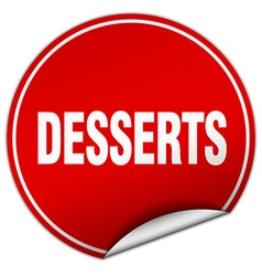 Desserts round red sticker isolated on white vector