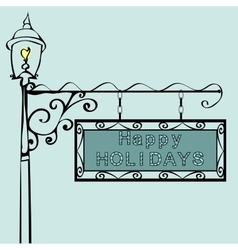 Happy holidays retro vintage street sign vector