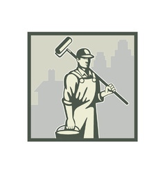 Painter paint roller vector