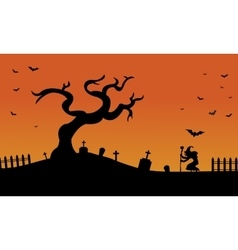 Halloween witch and bat in tomb scary silhouette vector