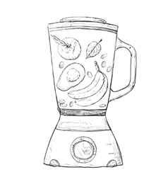 Cooking smoothie in a blender vector