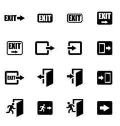 Black exit icon set vector