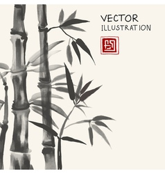Traditional sumi-e background with bamboo vector