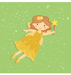 Cute little yellow fairy vector