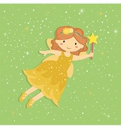 Cute little yellow fairy vector