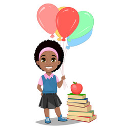 Back to school cute afro-american girl in casual vector
