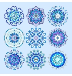 Blue circle lace ornament round ornamental vector
