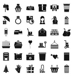 Box icons set simple style vector