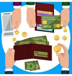 Businessmen hands with money vector