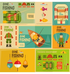 fishing posters vector image vector image