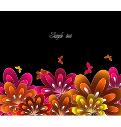 Flower red on black background vector image vector image