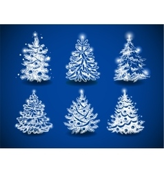 Hand-drawn christmas trees vector