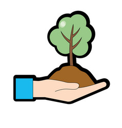 Hand with natural tree and ground icon vector