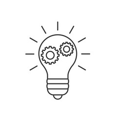 lightbulb with cogs line icon vector image vector image