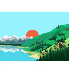 Mountain landscape in flat colors vector image vector image