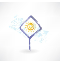 Plate sun grunge icon vector