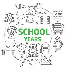 school years linear vector image