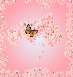 Seamless texture cherry blossoms and butterfly sea vector