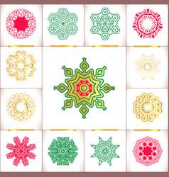 snowflake symbols set snowflakes isolate vector image