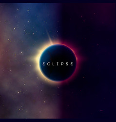 Solar eclipse abstract astral universe background vector
