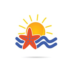 sun icon with sea star color vector image