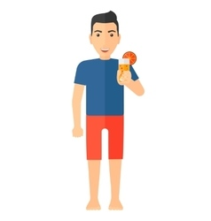 Tourist holding cocktail vector