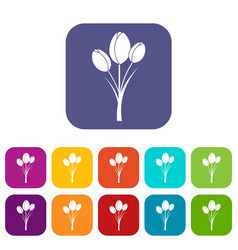 tulips icons set flat vector image
