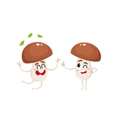 Two funny porcini characters jumping from vector