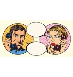 Vintage couple man and woman talking on the phone vector