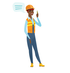 young african-american builder with speech bubble vector image vector image