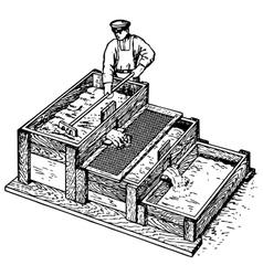 Worker preparing concrete vector image