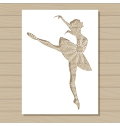 stencil template of ballet dancer on wooden vector image