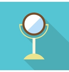 Round makeup mirror icon flat style vector