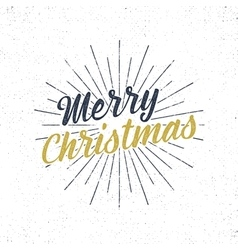 Merry christmas typography label retro christmas vector