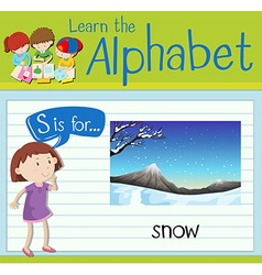Flashcard letter s is for snow vector