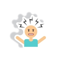 Stylish icon in label tag sticky man headache vector