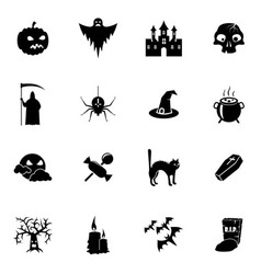 Black and white Halloween icons set vector image