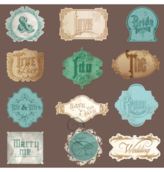 Calligraphic wedding elements in vintage frames vector