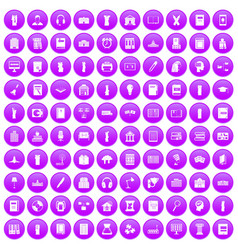 100 library icons set purple vector image