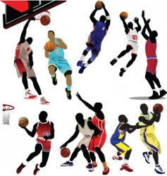 Basketball players vector