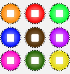 Stop button icon sign a set of nine different vector