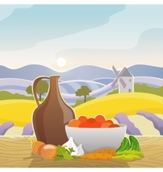 Rural landscape with still life vector