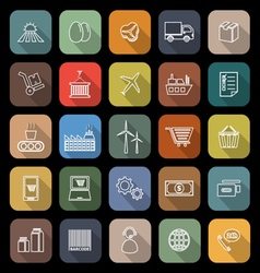 Supply chain line flat icons with long shadow vector