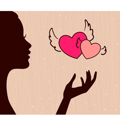 beautiful girl silhouette with hearts vector image